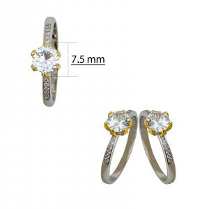 Inel Argint 925% bicolor cu un zirconiu alb [2]