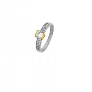 Inel Argint 925% bicolor si zirconii albe [0]