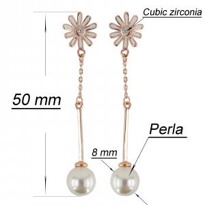 Cercei Argint 925% rose-gold cu perla [2]