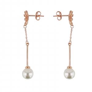 Cercei Argint 925% rose-gold cu perla [1]