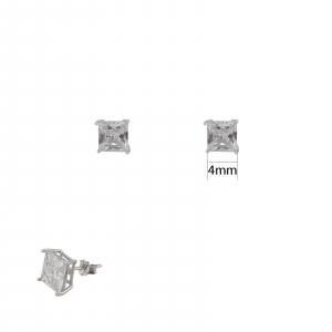 Cercei de 4mm din Argint si piatra alba patrata,cod 1506SQW4 [1]