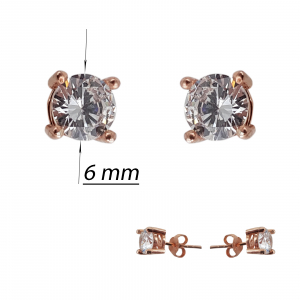 Cercei  Argint 925% rose-gold cu un zirconia de 6mm [2]