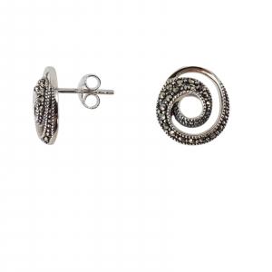 Cercei Argint 925% spiralati cu marcasite [1]