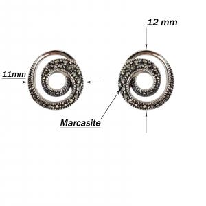 Cercei Argint 925% spiralati cu marcasite [2]
