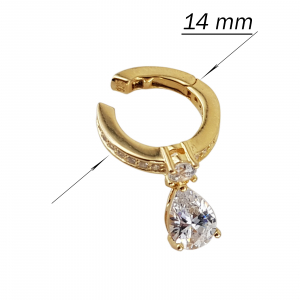 Cercei Argint 925% model ear cuff placati cu auriu si cubic zirconia in forma de lacrima [3]