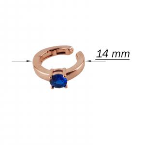 Cercei Argint 925% model ear cuff rose-gold si cu piatra albastra [2]