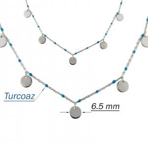 Colier Argint 925% cu turcoaze si cerculete de 6.5mm [2]