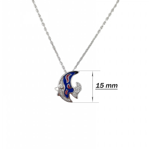 Colier argint 925% cu pestisor albastru [1]