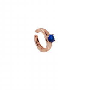 Cercei Argint 925% model ear cuff rose-gold si cu piatra albastra [0]