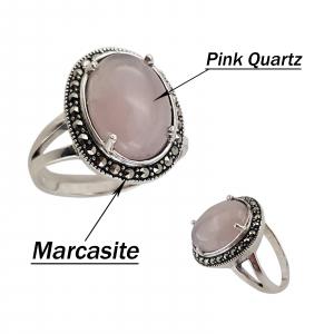 Inel Argint 925% cu marcasite si cuart roz [3]