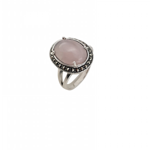 Inel Argint 925% cu marcasite si cuart roz [0]