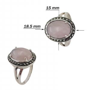 Inel Argint 925% cu marcasite si cuart roz [2]