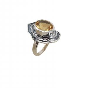 Inel Argint cu citrin, usor antichizat [1]