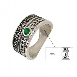 Inel Argint 925% cu marcasite si zirconia verde [1]