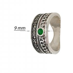 Inel Argint 925% cu marcasite si zirconia verde [2]