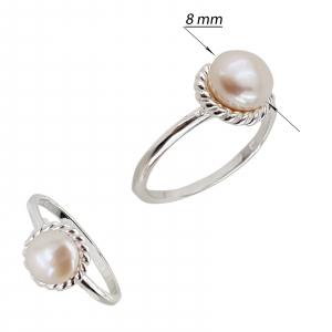 Inel clasic din Argint 925% cu perla de cultura de 8mm [2]