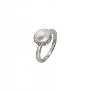 Inel Argint 925% cu perla si zirconia albe [0]