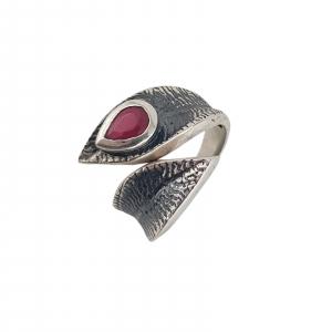 Inel Argint 925% cu piatra rubinie si aspect vintage [0]