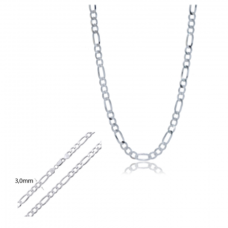 Lant din Argint 925% pentru barbati, model Figaro 55cm [0]