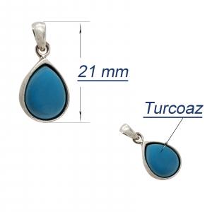 Medalion Argint 925% cu turcoaz in forma de lacrima [1]