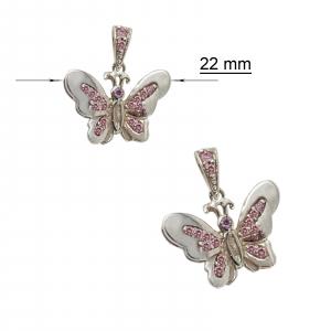 Medalion Argint 925% fluture cu cristale roz [1]