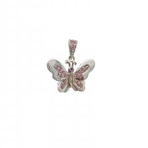 Medalion Argint 925% fluture cu cristale roz [0]