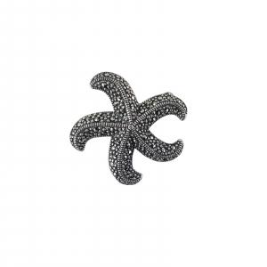 Brosa-medalion Argint 925% cu marcasite in forma de stea de mare [0]