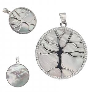 Pandantiv Argint 925% ,Copacul vietii pe Sidef Alb 1914 [1]