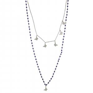 Colier Argint 925% model rozariu,cu lapis lazuli si fluturasi [0]