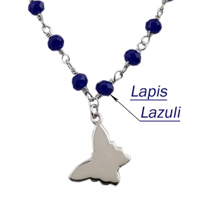Colier Argint 925% model rozariu,cu lapis lazuli si fluturasi [1]