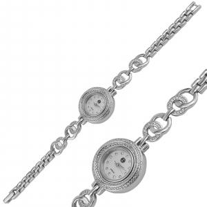 Ceas Argint 925% cu zirconii albe si cadran rotund [0]