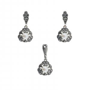 Set din Argint 925% cu marcasite si perle 1152 [0]