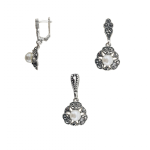 Set din Argint 925% cu marcasite si perle 1152 [1]