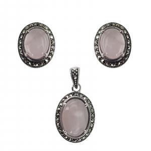 Set Argint 925% cu marcasite si cuart roz Eternal Flame [0]