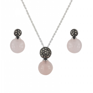 Set Argint 925% Pink Glamour cu marcasite si cuart roz [0]