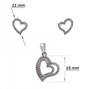 Set Argint 925% cu inimioara dubla [2]