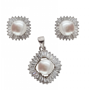 Set Argint 925% cu perle de cultura si cubic zirconia [1]