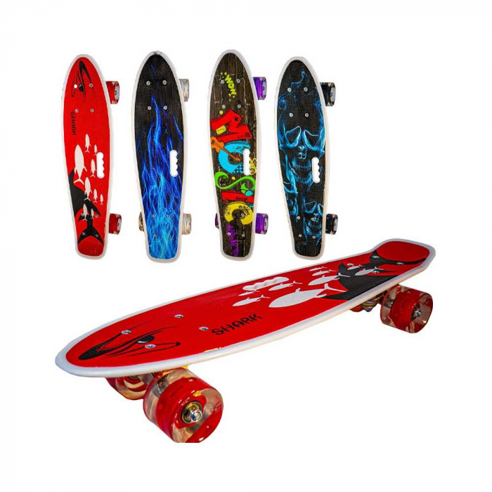 Placa skateboard cu roti silicon, led 0