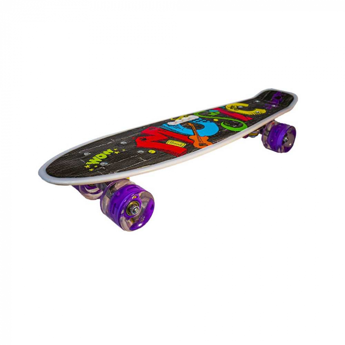 Placa skateboard cu roti silicon, led 7