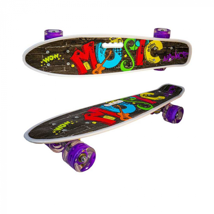 Placa skateboard cu roti silicon, led 3