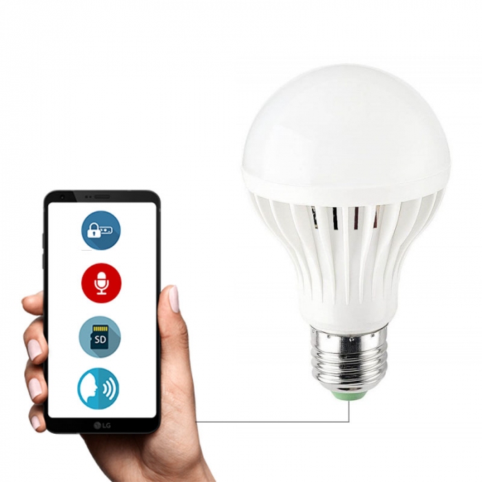 Bec Economic LED 12W cu Microfon - NanoSim + Reportofon - Asculta Si Inregistreaza In Timp Real - Control prin aplicatie Andorid / iOS 0