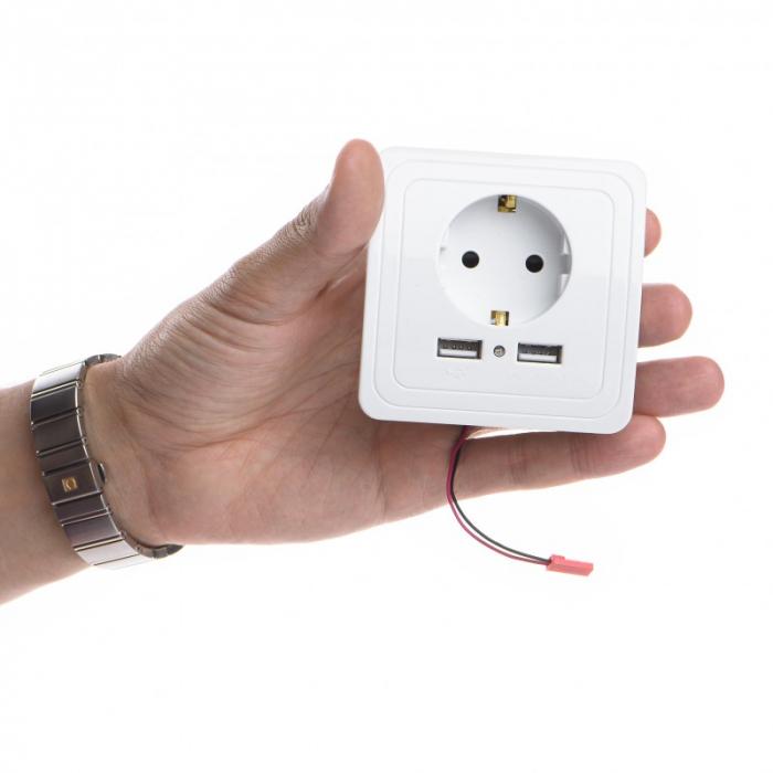 Priza de Perete 220V + USB cu Microfon Profesional - (NanoSim) - Asculta in timp real [3]