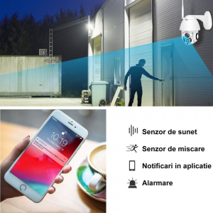 Camera De Supraveghere Exterior Smartech Self-Protect Wifi NightVision - Alarmare - Intercom - Rotatie Motorizata (PTZ) - 128GB - HD - Monitorizare in Timp real - Instalare Rapida [H21]3