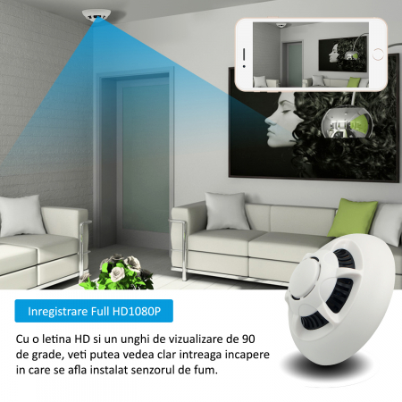 Microcamera Video Wi-Fi P2P/IP Integrata in Senzor de Fum - Transmisie live pe Telefon [3]