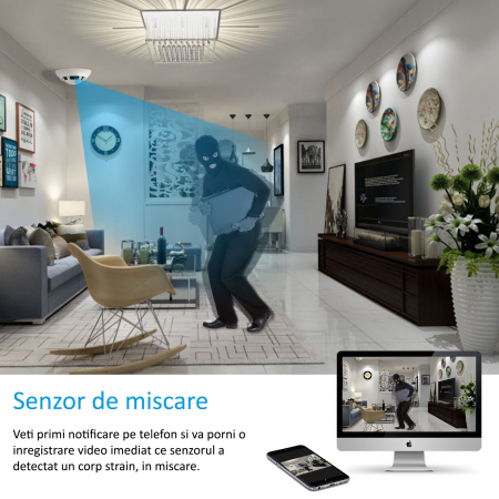 Microcamera Video Wi-Fi P2P/IP Integrata in Senzor de Fum - Transmisie live pe Telefon [2]