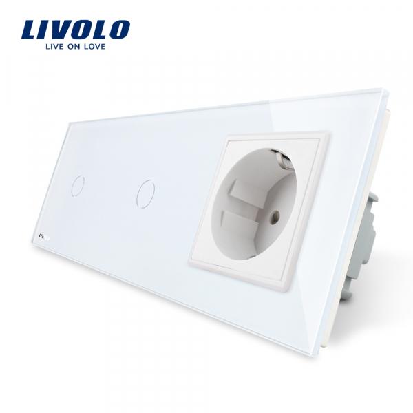 Întrerupător touch 2 x simplu + Priză Schuko din sticlă Livolo 0