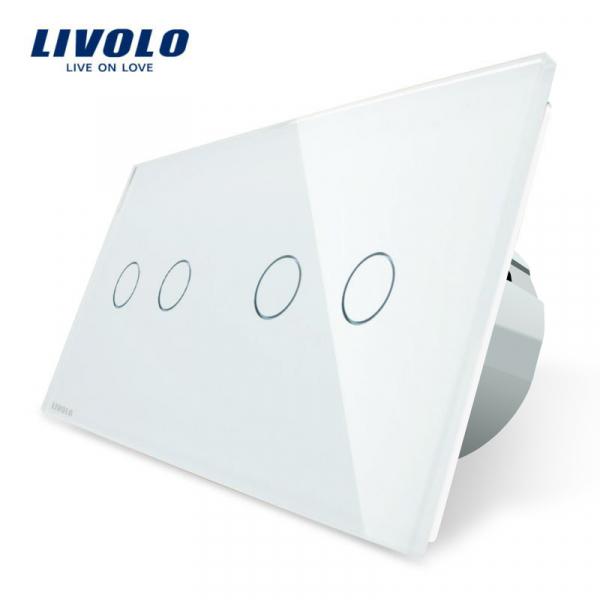 Întrerupător touch dublu + dublu Livolo 0