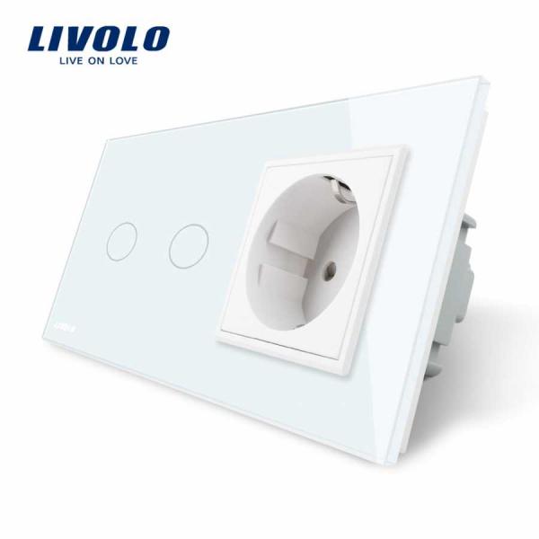 Întrerupător touch dublu + Priză Schuko din sticlă Livolo 0