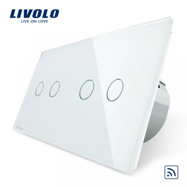 Întrerupător touch dublu + dublu RF Livolo [0]