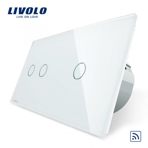 Întrerupător touch dublu + simplu RF Livolo 0